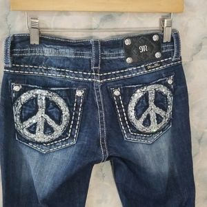 Miss Me peace sign signature rise boot jeans 27/35